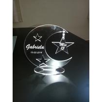 Souvenir Luna Con Estrella Acrilico,15 Años,bautismos,cump