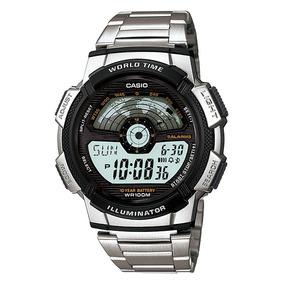 Relogio Casio Ae-1100wd Aço Crono Hora Mundi Timer 5 Alarmes