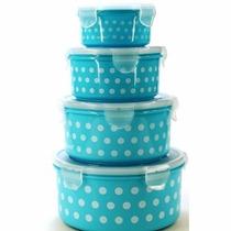 Conjunto Com 4 Potes Para Mantimentos Poá Azul