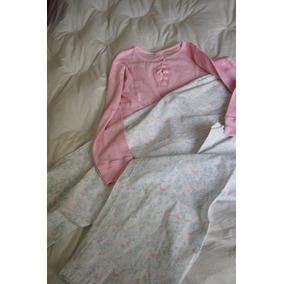 Pijama Blusa Rosa Botao Calca Branca Com Estampa Azul E Rosa