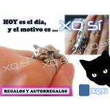 Xqsí Anillo Diseño Gatito Dormilón Regalo Bijou Animal Gato