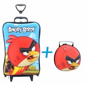 Mochila Angry Birds 3d Grande Rodinha Tripla +lancheira Kit