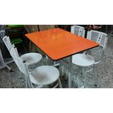 Juego Mesa Comedor Madera Y 4 Sillas Para Restaurante Bar