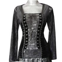 Blusa Agujeta C/encaje Gotica Medieval Lolita Tipo Corset