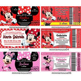 50 Convites Aniversário Ingresso Minnie Vermelha Rosa Baby