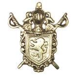 Brasão Cavalaria - Cavaleiro - Com Espada E Escudo Em Bronze