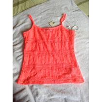 Camiseta Neón Pink Con Encaje. Forever 21. Talla M