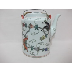 B. Antigo - Bule Em Porcelana Chinesa Antigo Pintado A Mão