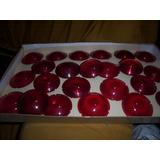 Lentes Vermelhas P/ Adaptação Em Lanternas Antigas Redondas