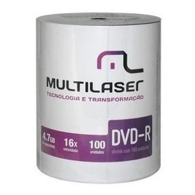 100 Dvd-r Midia Virgem Multilaser C/logo 16x Dvd 4.7gb
