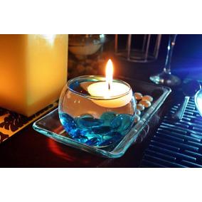 Pecera Con Vela Flotante Y Gema Azul Aluzza