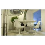 Mesa Saarinen Tampo Em Carrara 1.30m E 6 Cadeiras Sem Braço