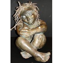 Anjo Menino - 35 Cm - Escultura Em Terracota / Barro Cozido