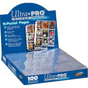10 Folhas Ultra-pro Silver 9 Bolsos P/ Fichário De Cards .
