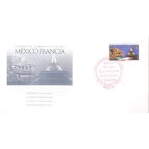 1998 Fdc México Francia Motivos Prehispanicos Torre Eiffel