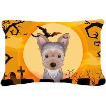 Halloween Del Perrito De Yorkie Tejido Almohada Decorativa B
