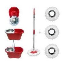 Balde Spin Mop 360 Centrifuga Inox Esfregão 2 Refis Vassoura
