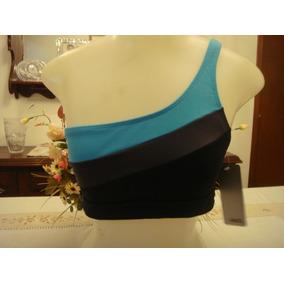 Top Ombro Unico Preto Azul Tam. M Ginastica Academia Novo