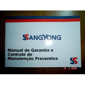 Manual Garantia Controle Manutenção Ssangyong Motor Livreto