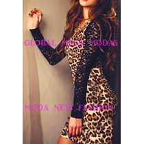 Vestido Onça Oncinha Tigresa Mangas Renda Até Plus Size 50