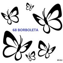 Adesivo Decorativo Kit Com 68 Borboletas, Parede, Carro, Box