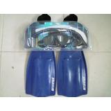 Kit Mergulho Mascara + Snorkel Valvulado + Nadadeira Seasub