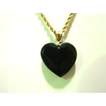 Cordão Pingente Coração Pedra Cristal Onix Ouro 18k Certific