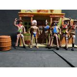 06 Homens Com Cenario Velho Oeste Forte Apache Cowboys 1:18