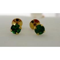 Brinco Infantil De Ouro 18k Pedra Natural Jade Frete Grátis