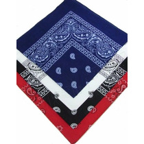 Kit 4 Bandanas Preto/vermelho/branco/azul Escuro 100%algodão