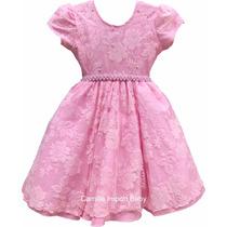 Vestido Infantil De Festa Princesa Luxo Rendado Com Tiara