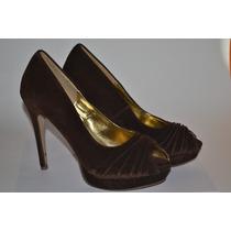 Zapatos / Tacones Marrones De Terciopelo Gamuzados