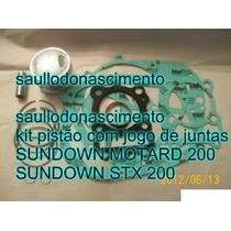 Pistão Moto Sundown Stx 200 E Ou Motard 200 + Jogo Juntas