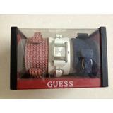 Relógio Feminino Guess Branco Vermelho Azul Troca Pulseira