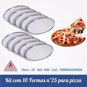 Kit Com 10 Formas Para Pizza De 25 Cm Em Alumínio