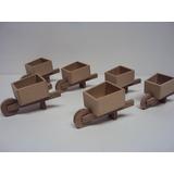 Carriola Miniatura Mdf Decoração Quarto De Bebe Kit 5 Peças
