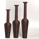 Trio De Vasos Decorativos Junco Garrafa Rústico Grande