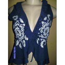 Bn010 - Bata Azul Transpassada Com Babado E Silk Manequim U