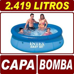 Piscina Inflável 2419 Litros Intex + Capa Tampa + Bomba Ar