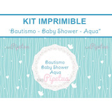 Kit Imprimible Bautismo Baby Shower Aqua Decoracion Candybar