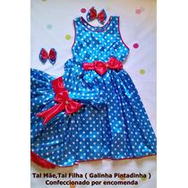 Vestidos Galinha Pintadinha Em Cetim ( Tal Mãe, Tal Filha )