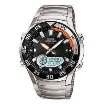 Relogio Casio Amw 710d-1aço Luas Mares Pesca Alarm Timer Cro