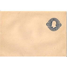 Envelope Brasão Correio 40 Reis Brazil Azul 8,6 Cm X 12.5cm
