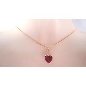 Pingente Coração Rubi,água Marinha,ametista 13 Unid Ouro 18k