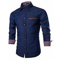 Camisa Casual Coofandy Azul Oscuro Tipo Mezclilla Talla 3xl