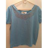 Blusa Collection Etc Color Azul Light Con Decorado Metálico