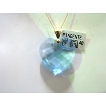 Pingente Cristal Cor Água Marinha Joia Ouro 18k Frete Grátis