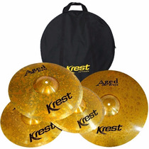 Kit Pratos P/ Bateria Krest Aged Brass Abset3 14 16 20 + Bag