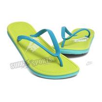 Chinelo Nike Solarsoft Thong - Azul / Verde Limão Tam. 35/36