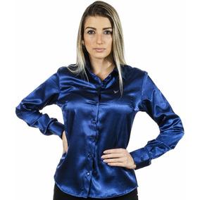 Camisa Social Plus Size Azul Cetim C/ Elastano Camisete